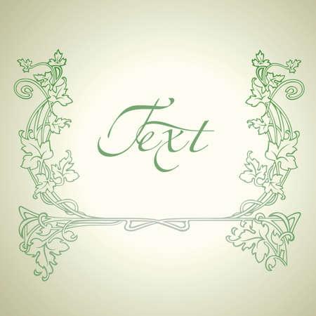 Vintage Floral Green Ornate Frame. Stock Vector - 8878201