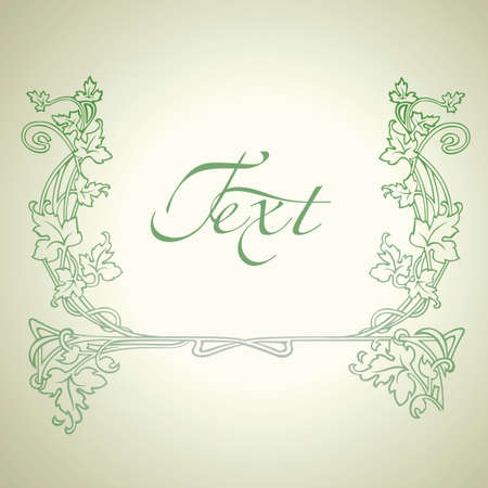 Vintage Floral Green Ornate Frame. Vector