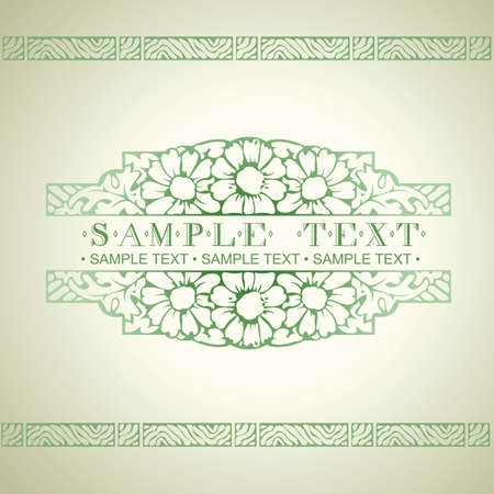 Green Ornate Art Deco Quad Banner Vector