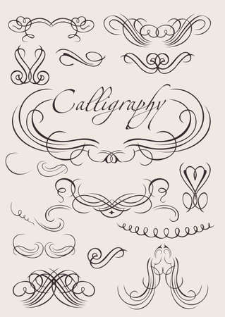 set: calligraphic design elements and page decoration Vector