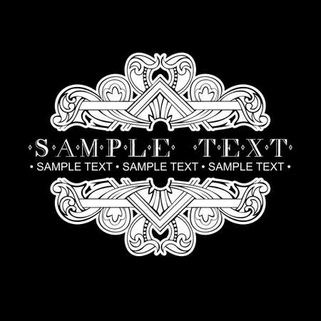 One Color Vintage Ornate Text Banner Vector