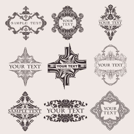 Set Of Nine Ornate Banner Text Quad photo