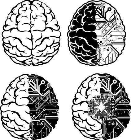 Set Of Four One Color Electronic Brain.