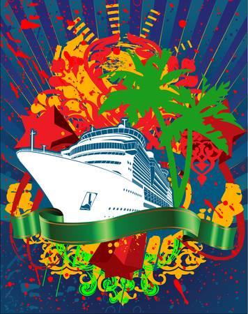 Ocean Cruise Liner Splash And Green Banner Vectores