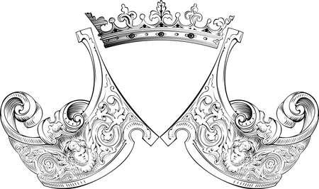 One Color Crown Heraldry Composition Vectores