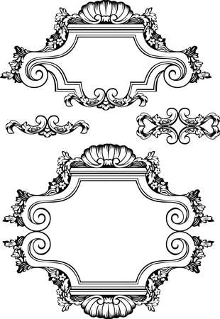Vector Antique Vintage Frames And Elements. Isolated On White For Design.