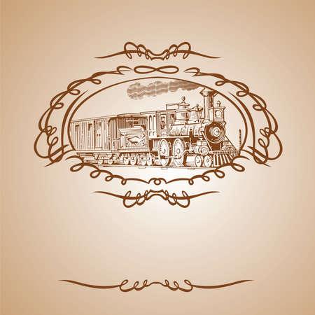 Antiguo tren Banner marrón