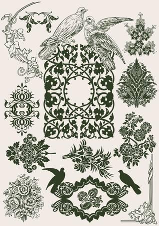 Flower Vintage Royal Design Elements And Doves.