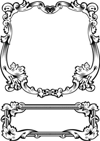 Antique Frame Engraving, Scalable And Editable Illustration Vectores