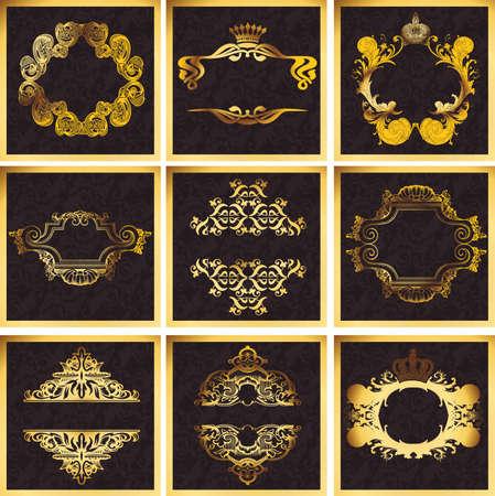 Decorative Golden Ornate Quad Frames Vectores