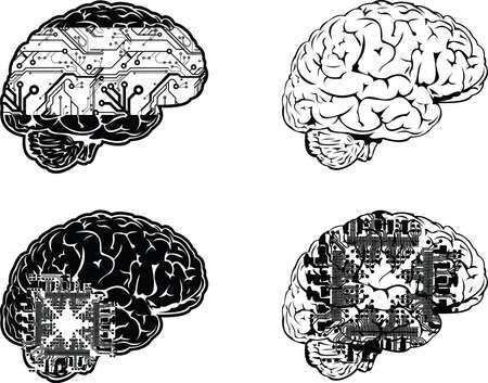 Set Of Four One Side View cervello elettronico a colori.