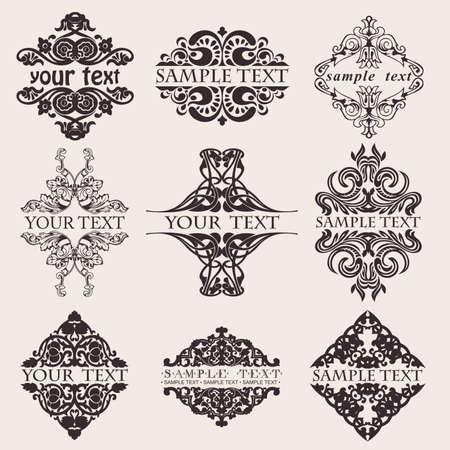 Reeks van negen Sierlijke Banner tekst Quad Vector Illustratie