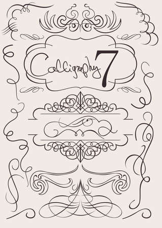set: calligraphic design elements and page decoration Vectores