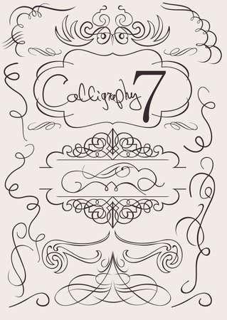 set: calligraphic design elements and page decoration Illustration