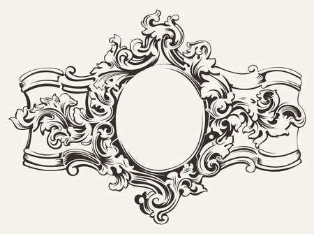 Antique Ornate Frame Gravur