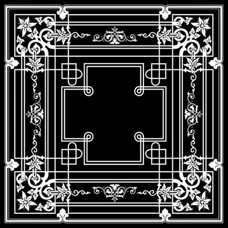 Ornate Vintage One Color Quad Background Stock Vector - 22296355