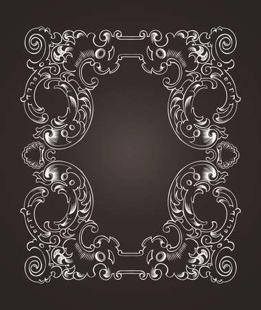 Ornate Frame On Dark Brown Stock Vector - 22296425