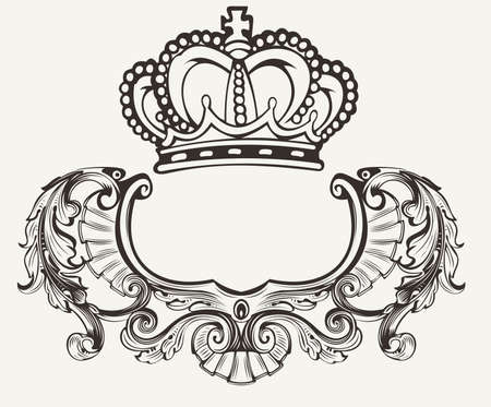 One Color Crown Crest Composition Illustration