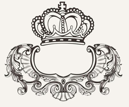 One Color Crown Crest Composition Vectores