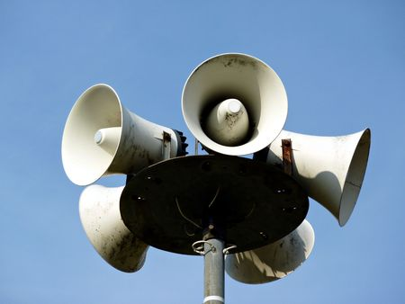 Lots of white loudspeakers on a column Stock Photo - 6647572