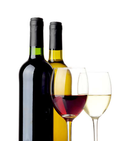 oenology: Red and white wine in bottles and wineglasses isolated on white