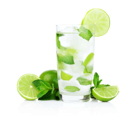 Studio shot of cold mojito with ice cubes isolated on a white background Stock Photo
