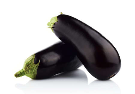 dyad: Close-up view of eggplants,aubergines fruit isolated on white background