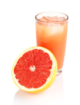 Studio shot of sliced grapefruit with grapefruit juice with ice cubes isolated white background photo