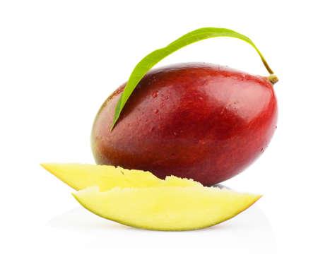 epicure: Close-up studio shot mango fruit with slice and leaf isolated on white background Stock Photo