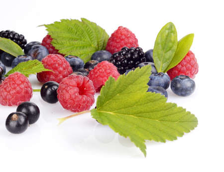 Details photo of assorted fresh berries full antioxidants isolated on a white background
