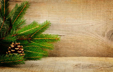 blithe: Wooden christmas background with spruce with pine cone