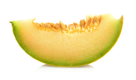cancellated: Studio shot of slice,piece of melon galia isolated on white background