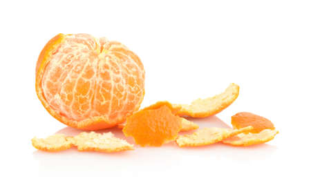 rinds: Studio shot one peeled mandarine,tangerine with rinds isolated on white background Stock Photo