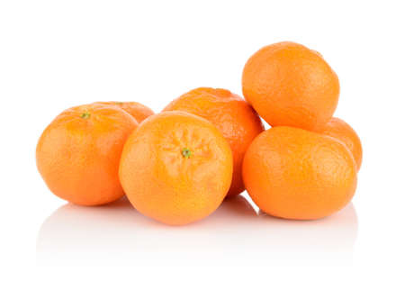 Studio shot three mandarines, tangerines isolated on white background Stock Photo