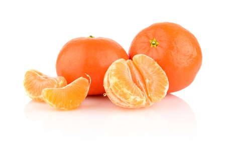 Studio shot mandarines, tangerines with pieces isolated on white background photo