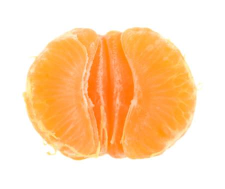 Studio shot of peeled half clementine isolated on white background Stock Photo