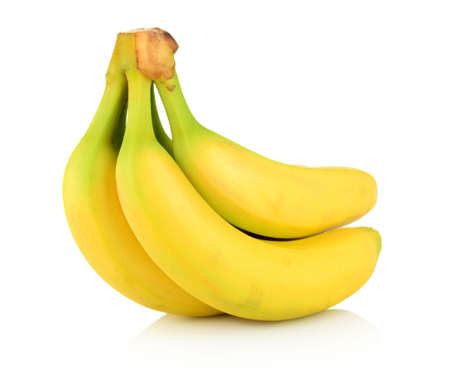 bannana: Group of many bananas on white background