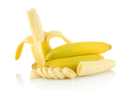 sectioned: Studio shot of peeled banana with bananas and pieces on white background Stock Photo