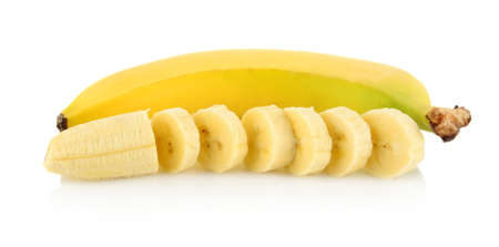 bannana: Close-up shot of banana with peeled slices banana on white background