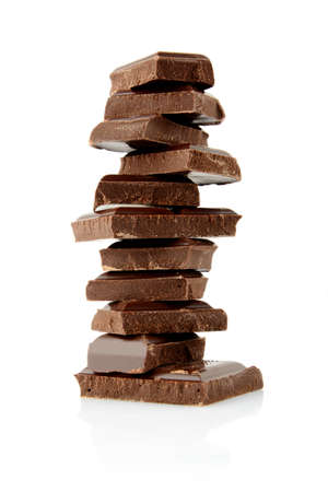 hillock: Hillock of blocks of chocolate isolated on white background