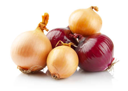Onions and red onions isolated on white background