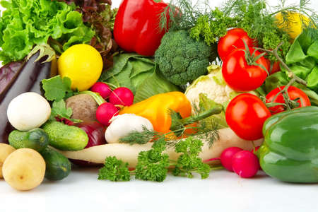 Group of different vegetables on white Stock Photo
