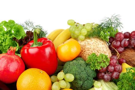 dietetic: Dietetic set of paleo diet of vegetables and fruits on white