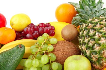 dietetic: Dietetic set of paleo diet of fruits on white