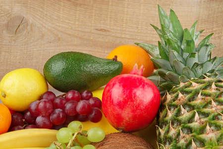 dietetic: Dietetic set of paleo diet of fruits on wooden board