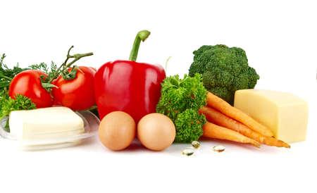 nutrients: Grupo de los nutrientes llenas de vitamina A en el fondo blanco