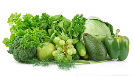 Group of green vegetables and fruits on white background