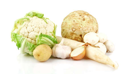 Group of green vegetables on white background Stock Photo
