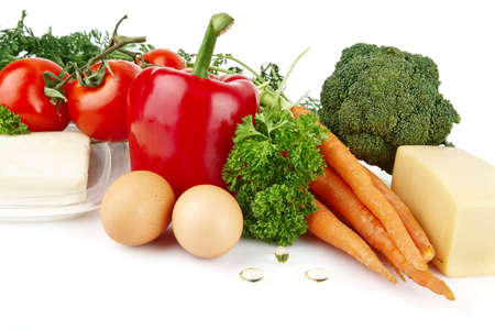 nutrientes: Grupo de los nutrientes llenas de vitamina A en el fondo blanco