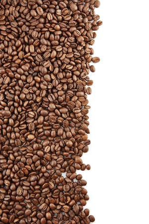 epicure: Left side frame of scattered coffee beans on white background